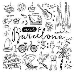 Barcelona hand drawn illustrations. Doodle Spain drawings and cute symbols of Barcelona city. Visit Barcelona concept vector set