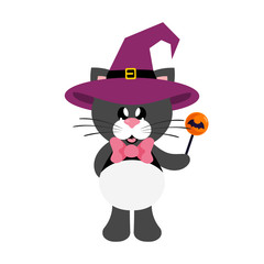 cartoon cute cat black with tie in witch hat with candy