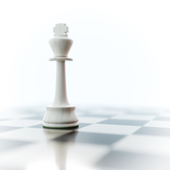 a lonely white king on a chess board