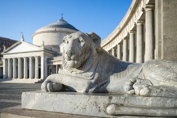 Scenic view of the Basilica Reale Pontificia San Francesco di Paola (built in 1816) dominated by the grand lionesses guarding the Piazza del Plebiscito in Naples, Italy