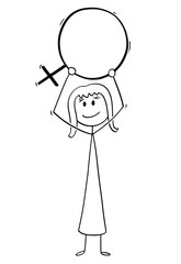 Cartoon stick man drawing conceptual illustration of woman holding female sex symbol. Concept of lesbian homosexuality.