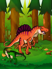 Spinosaurus on the background of a forest.