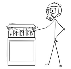Cartoon stick man drawing conceptual illustration of man in gas mask looking at box of cigarettes.