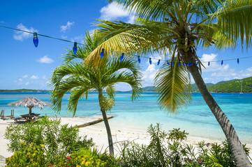 Beautiful bright view through tropical vegetation to a white sandy beach and clear blue Caribbean sea