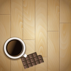 Coffee cup, chocolate bar and wood background. Vector illustration