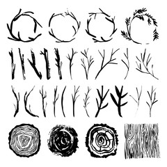 Rustic wood tree branches and wreaths. Wooden background and stub. Hand drawn design elements. Nature vector illustration.