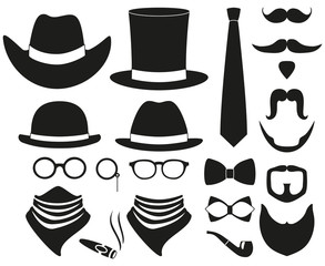 Black and white hipster 21 silhouette element set.