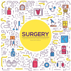 Doctors making surgery vector outline concept. Medics in surgery room providing and operation to the patient in a hospital thin line illustration. Banner with typography slogan text design.