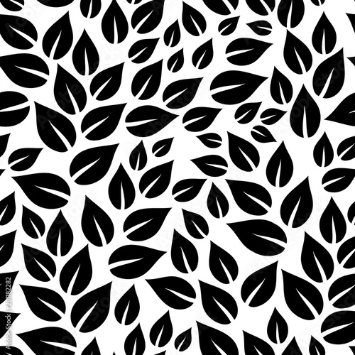 Black And White Simple Leaves Seamless Pattern Vector