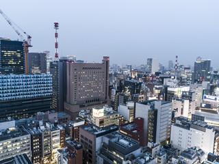 オフィス街の景色。俯瞰。