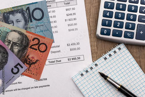 Statement Of Account With Australian Dollar Calculator And Notepad