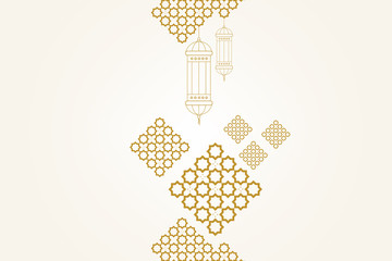 Ramadan kareem greeting card template. Ramadan lamp or lanterns and muslim pattern element.