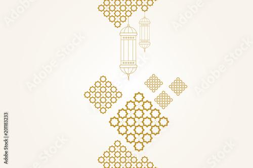 Ramadan kareem greeting card template  Ramadan lamp or lanterns and
