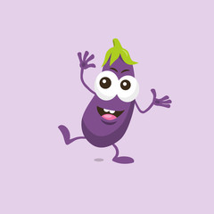 Illustration of cute happy eggplant mascot standing on one foot with big smile isolated on light background. Flat design style for your mascot branding.