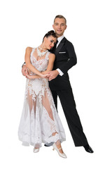 Sensual woman and man dance. Bride in white dress and groom in tuxedo. Couple of ballroom dancers in love. Valentines day celebration. Wedding or proposal and date concept