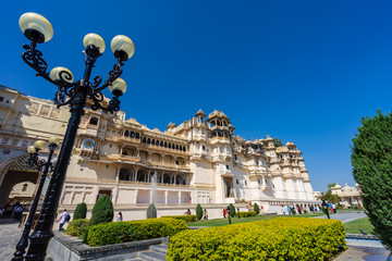 Wall Mural - Udaipur city palace in sunny day.