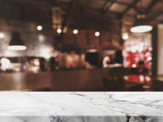 Empty white marble Stone table top and blurred restaurant interior background - can used for display or montage your products.