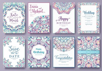 Set of old Ramadan flyer pages ornament illustration concept. Vintage art traditional, Islam, Arabic, Indian, magazine, elements. Vector decorative retro greeting card or invitation layout design