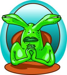 weird alien officer funny cartoon style vector illustration.