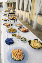buffet of appetizers. Table set with various appetizers, italian food