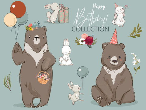 cute birthday hares and bear collection