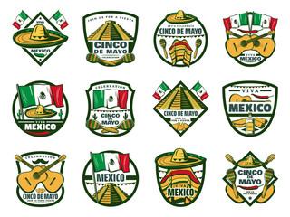 Cinco de Mayo holiday label for mexican fiesta