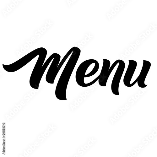 Menu Hand Lettering Brush Calligraphy Isolated On White Background Handwritten Type Design Vector