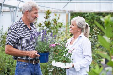Mature Couple Choosing Plants At Garden Center