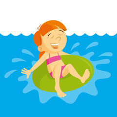 Little Girl Swimming With Inflatable Circle