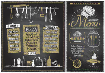 Chalk menu boards with kitchenware, hand drawn graphic illustration
