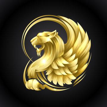 Golden heraldic Griffin
