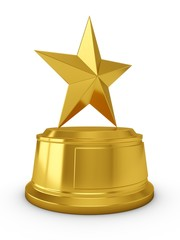 3D Rendering Golden Star Trophy isolated on white