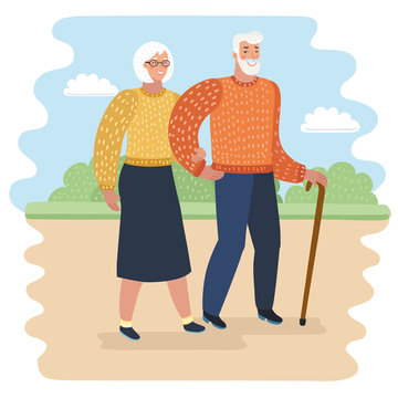 Grandpa with walking stick and senior woman on walkers in city park vector illustration. Old couple spend time together.