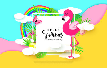 Hello Summer banner with Sweet Vacation Elements. Paper Art. Tropical plants, butterflies,pink flamingo, pineapple, rainbow,clouds. Vector illustration.