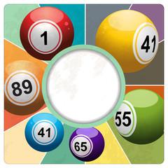 Retro bingo lottery balls border on multicolour background