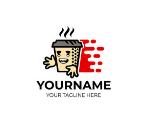 Cartoon character coffee, tea in a paper cup and fast delivery, logo template. Coffee shop, cafeteria and delivery coffee, tea on home, vector design. Food and hot drinks, illustration