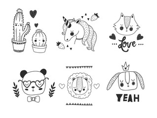 Cute animals. Vector doodle set