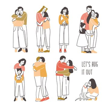 Collection of pairs of hugging or cuddling people - romantic partners, friends, pets and owners, parents and kids. Set of cute cartoon characters isolated on white background. Vector illustration.
