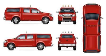 Pickup truck vector mock-up. Isolated template of red pick up on white. Vehicle branding mockup. Side, front, back, top view. All elements in the groups on separate layers, easy to edit and recolor.