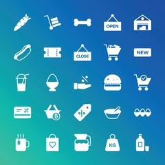 Modern Simple Set of food, drinks, shopping Vector fill Icons. ..Contains such Icons as  anatomy,  mail,  vector,  carrot, food,  easter and more on gradient background. Fully Editable. Pixel Perfect.