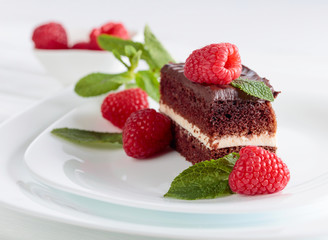 Chocolate cake with raspberry and mint.