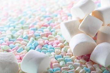 Close up of various marshmallows  .