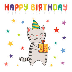 Hand drawn Happy Birthday greeting card with cute funny cartoon cat with a present, text. Isolated objects on white background. Vector illustration. Design concept for party, celebration.