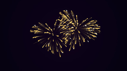 Two gold  fireworks in the shape of a hearts.  Gold sequins for married, honeymoon or wedding party.