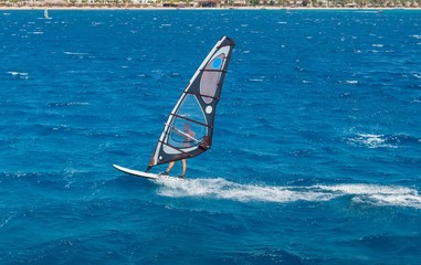 the windsurfer on the board under sail moves at a speed along the surface of the sea