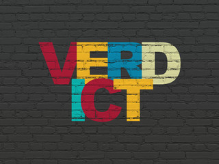 Law concept: Painted multicolor text Verdict on Black Brick wall background