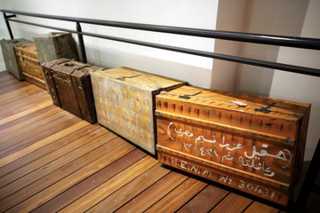 Original suitcases used by Jews who immigrated from Iraq to Israel are seen on display at the Babylonian Jewry Heritage Center in Or Yehuda