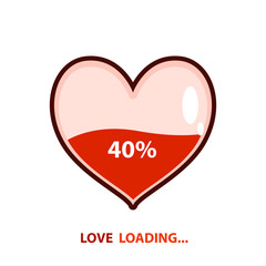 Love loading emblem. Heart loading. Vector