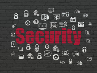 Protection concept: Painted red text Security on Black Brick wall background with  Hand Drawn Security Icons