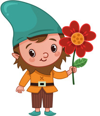 Vector Gnome Character is Holding a Flower